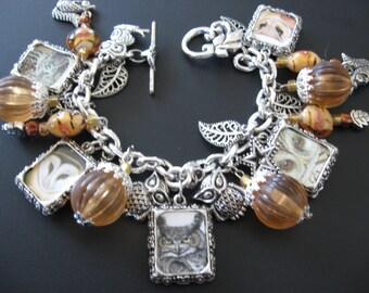 Charm Bracelet Owl Jewelry 10-Photo Double-Sided Mixed Media Jewelry Mystical Owl Charm Bracelet Jewelry