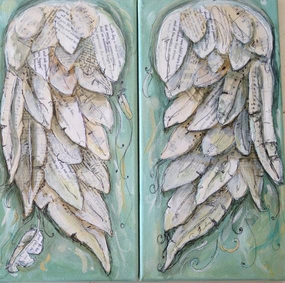 Angel wings painting. FLY. Wings of Love original