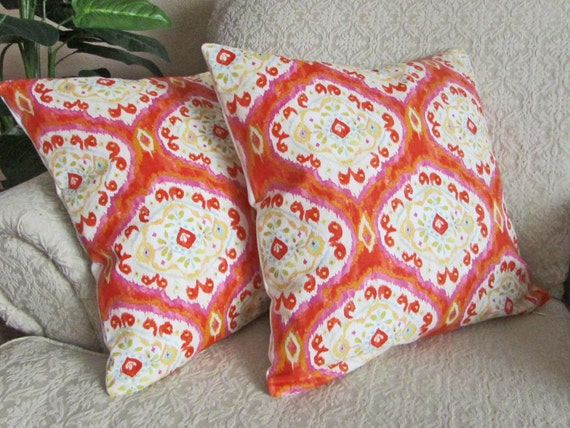 Coral Ikat, Coral Pillow Covers, Orange Ikat Pillow Covers, Throw Pillow Covers, Couch Cushion Covers, Medallion - Set of Two - 16 x 16