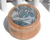 Pincushion Wooden Base Non Slip Ring Gray Teal Grey Aloha Print