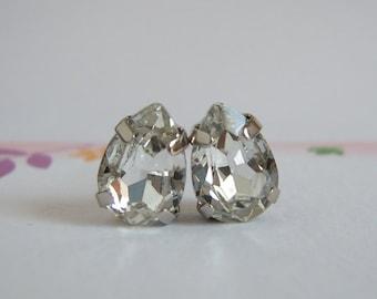 Diamond Crystal Earrings, Pear Crystal Stud Earrings, Bridal Earrings, Wedding Jewelry