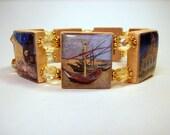 VAN GOGH Bracelet / Famous Paintings / SCRABBLE Jewelry / Sunflowers / Starry Night