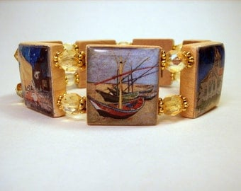 VAN GOGH Bracelet / Famous Paintings / SCRABBLE Jewelry / Sunflowers / Starry Night