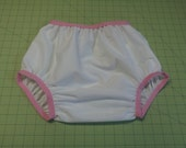 Adult Baby Bottoms - White with Pink Elastic - Size 26 to 36 inches