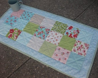 Table runner modern country floral green teal aqua red Ruby fabric Bonnie and Camille