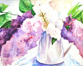 "Watercolor Painting, Original Painting, Still Life Painting, Lilacs, 9""x12"""