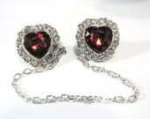 Sweetheart Sweater Clip Heart Shape Red Jewel and Rhinestones Valentines Day