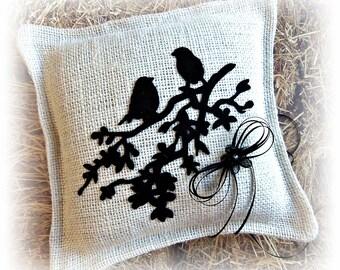 Love birds ring pillow, rustic weddings burlap ring bearer cushion, ring bearer wedding accessories