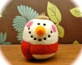Little Needle Felted Wool Snowman Egg - Holidays - Christmas - Made to Order