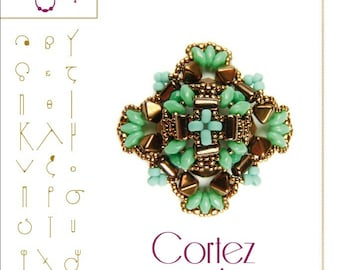 Beading pattern Pendant tutorial / pattern Cortez with Rulla beads ..PDF instruction for personal use only