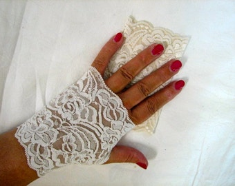 English Tea Party or Mori Girl Urban Chic with a hint Cream Lace Fingerless Gloves Arm Warmers