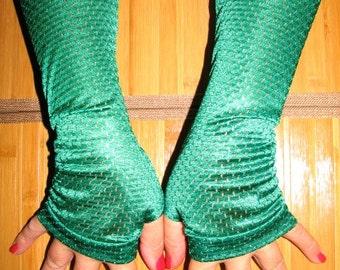 Scarlet O'hara Deep Green Fingerless Gloves Arm Warmers