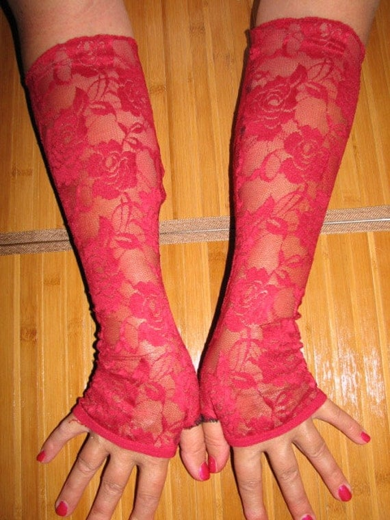 A Classic Choice of sheer red roses from Amys Secret Garden Lace Fingerless Gloves Arm Warmers