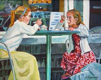 Little Girls Children Painting Original 18x24 Large Painting Ice Cream Parlor Figurative Children yellow red white  Gwen Meyerson