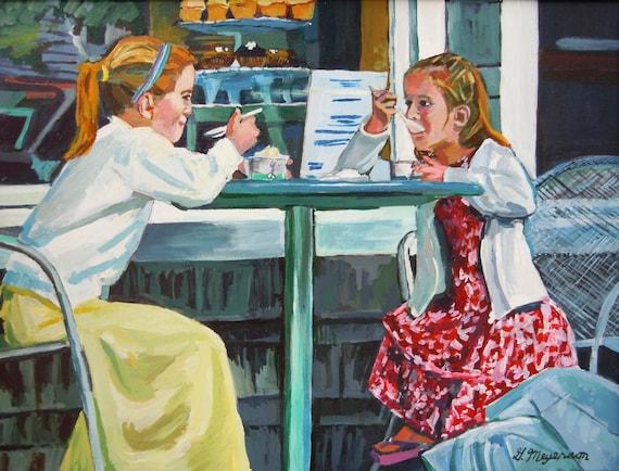 Girls At Ice Cream Parlor Art Figurative 8x10 Print, Painting of Children Gwen Meyerson