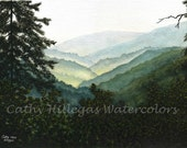 Smoky Mountains art landscape watercolor painting print by Cathy Hillegas, 11x14, watercolor print, green art, teal art, yellow, blue, black