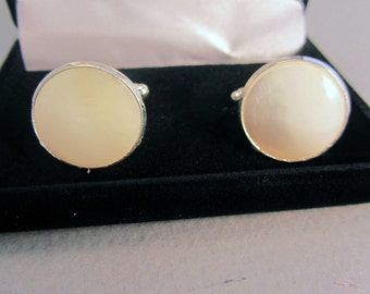 Mother of Pearl Cuff Links Silver-plated Men's Elegant