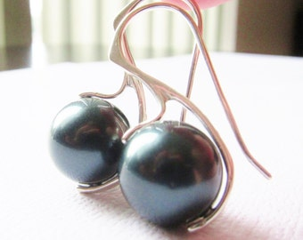 Deep Sea Tahitian Pearl Earrings, Sterling Silver Earrings, South Sea Pearls, Silver Earrings, Dark Blue, Green Earrings, Natural Jewelry