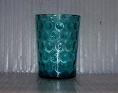 TUMBLER Water Glass ANTIQUE Victorian  Coin spot azure aqua blue pattern