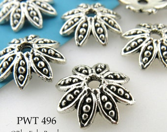 14mm Large Pewter Flower Bead Cap, Antiqued Silver Bead Cap (PWT 496) 20 pcs BlueEchoBeads