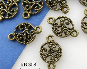 10mm Antique Brass Bronze Open Work Lacy Scroll Connector  (RB 308) 8 pcs BlueEchoBeads