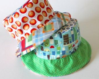SALE - Bucket Sun Hat for Toddler Boys, Photo Prop, Beach Wear, Plaid and Blue