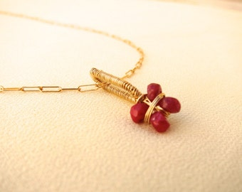 ruby cylinder necklace