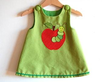 APPLE baby girls handmade jumper dress with diaper cover