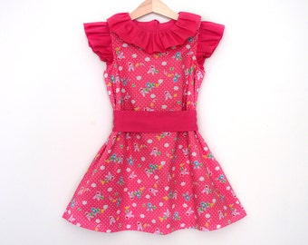 Girl Easter Dress, Girl Handmade Party Dress, Girls Pink Party Dress, Bunnies Baby Girl Dress, Designer Girl Dress