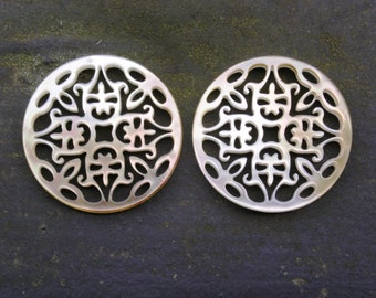 "Pair Two Tone Round Cutout Carvings 1 3/16"" 30mm Chandelier Earrings Tahitian Mother of Pearl"