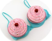 Fake Cupcakes for Cupcake Bra Halloween Costume 2 JUMBO Cupcakes Red Glittery Cherries Choose Frosting and Cupcake Liners