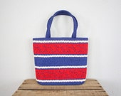 SALE Vintage Purse in Red White and Blue 1960s Mid Century Mod Lace Purse Vintage Handbag