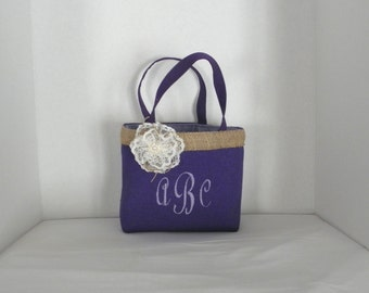 Purple Gracie  Size Monogrammed, Personalized Tote, Flower Girl, Bridesmaids, Wedding, Birthday, Shower gift, Bag