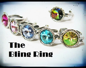 The Bling Ring- Antique Silver Scroll Swarovski Crystal Rivoli Ring- You choose the color