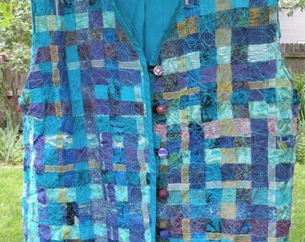 Top blouse silk shirt, women's sleeveless jacket, button front vest, spring summer M medium size 8 teal blue aqua purple gold woven i311
