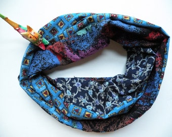 Circle scarf, cowl infinity women's woven fashion, blue teal green purple brown black red hearts Valentine cotton Bohemian Lhasa gift i618