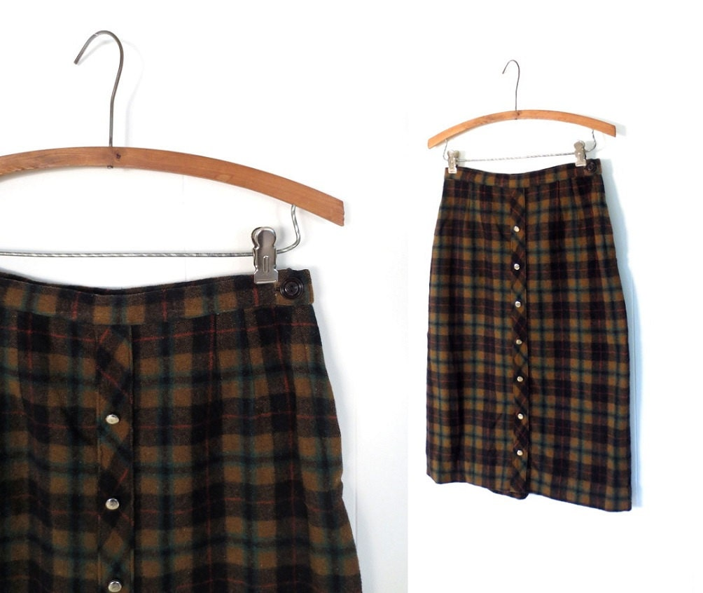 plaid pencil skirt 1950s skirt wool plaid by