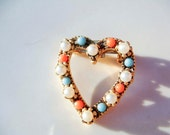 Vintage Heart Brooch with Pearls Turquoise Citrine Stones