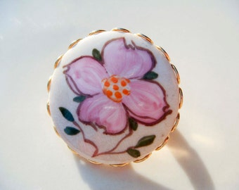 Vintage Pink Flower Ceramic Painted Brooch