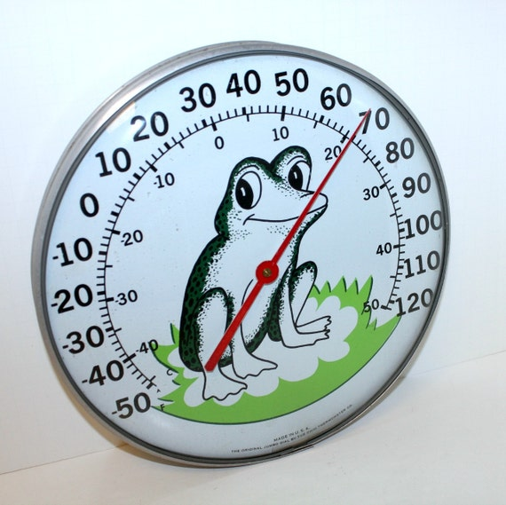 Vintage Frog Outdoor Ohio Thermometer Jumbo Dial Wall Mount