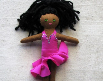 Salsa dancer doll, collectible soft cloth doll, latin dancer in hot pink ruffled dress with rhinestones, 6""