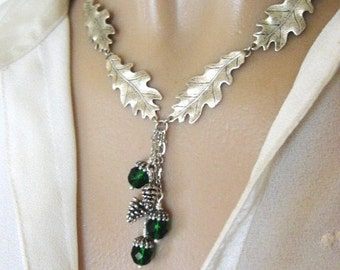 Natural Jewelry, Leaf Necklace, Acorn Necklace, Oak Leaf Jewelry, Silver Leaf Necklace, Silver Acorn Jewelry, Enchanted Forest Wedding