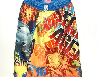 Girls Size 4 / 5 Cars Skirt Repurposed Trunks
