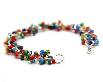 Beaded Bracelet - Silver Chain Links - Bright Colorful Multicolored Rainbow by randomcreative on Etsy