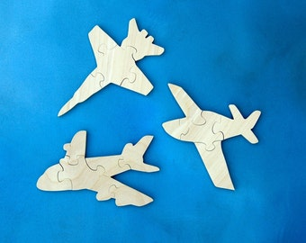 Childrens Wood Puzzles - Set of 3 Kids Wooden Airplane Toy Puzzles - Fun for Toddlers and Children