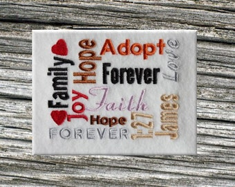 Adoption Embroidery Subway Art Design