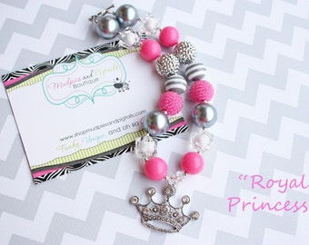 chunky necklace { Royal Princess } Tiara Crown Necklace, gray hot pink, First Birthday, cake smash photography prop
