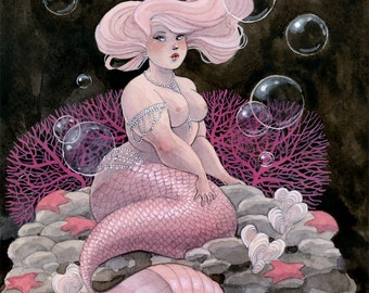Pink and Pearls Mermaid - 8x10 print