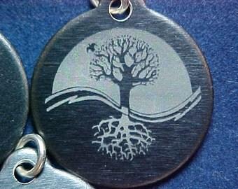 Engraved Tree Of Life Yin Yang Charm Pendant 001