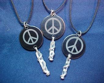 Engraved Peace Symbol Quartz Crystal Wand Silver Pendant